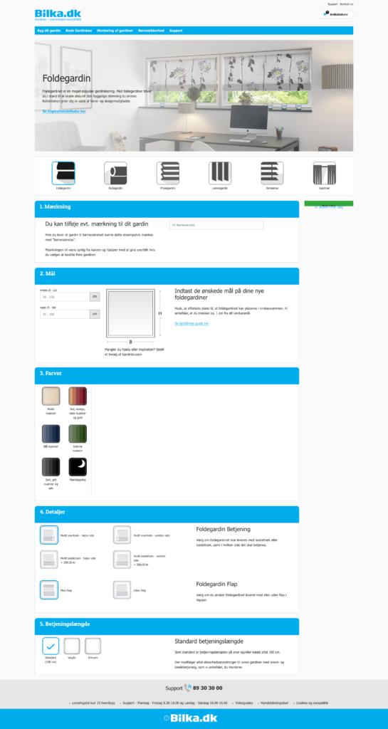 Bestillingsflow på Bilkas webshop når man skal bestille enestående gardiner med tilpasset mål